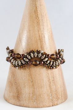 Bronze & Brown Beaded Bracelet Brown by BeauBellaJewellery #jewelry #bracelets #beads #brown #handmade #etsy #beaubella