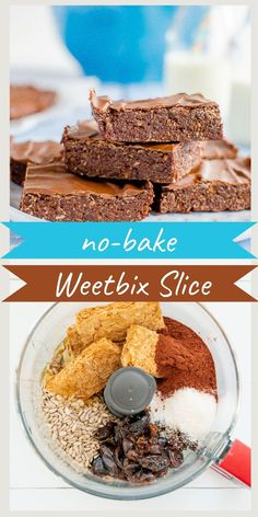 No-bake chocolate Weetbix slice, easy kid-friendly recipe made with Weetabix, or wheat biscuit breakfast cereal #weetbixslice #weetbixrecipe #nobakerecipe #nobakeslice #chocolateslice Healthy Homemade Snacks, Healthy Snacks For Kids, Healthy Sweets, Healthy Baking, Healthy Food, Chocolate Weetbix Slice, No Bake Slices, Baking Recipes, Vegan Recipes