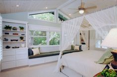 Cubbies, Cot & Seat Placement and Bedroom Color Theme -  Sloped Ceilings,  Dresser,  Canopy Bed,  Ceiling Fan &  Ceiling Lighting