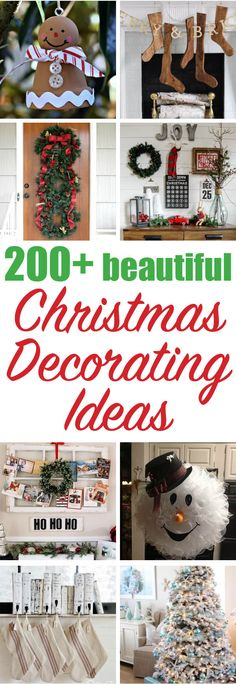 Hundreds of beautiful Christmas Decorating Ideas - some of the BEST Christmas decorating ideas.... and I want to do so many of them. With ornaments and mantels and trees and signs - oh how many great ways to DIY Christmas decorating. I've never seen a lot of these ideas, so the inspiration is endless!