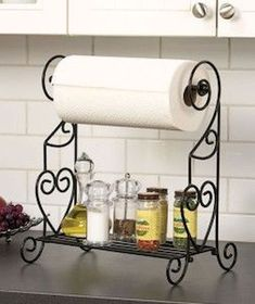 VANRA(TM) Spice Rack Kitchen Spice Stand Jars Storage Organizer with Tissue Dispenser Rack / Bathroom Paper Towel Holder & Towel Bar (Black): Kitchen & Dining Decor, Wrought Iron Furniture, Jar Storage, Kitchen Organization, Kitchen Decor, Bathroom Paper Towel Holder, Towel Rack, Wrought Iron Decor, Iron Decor