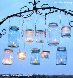 from etsy: treasure again shop. Hanging Mason Jars Lids 10 Outdoor Wedding Candle Holders DIY Canning Jar Hangers Handmade Upcycled Ball Jar Garden Party Lids Only No Jars