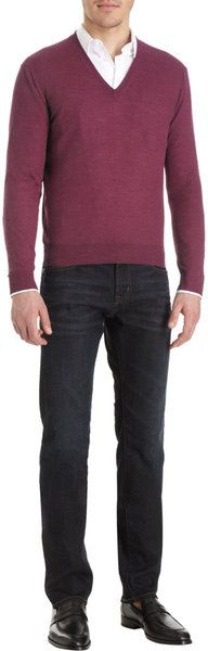Knit V-Neck Sweater - Lyst #mens #fashion #clothes #mensfashion