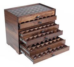 modular fly fishing display and storage system in black walnut