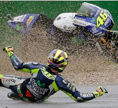 Valentino Rossi warm up crash at Misano Marco simoncelli circuit 2014