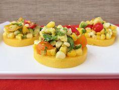 Polenta Rounds with Fresh Tomato, Corn and Avocado Salsa