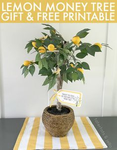 When giving money as a gift this lemon money tree is a cute way to do it! Free printable gift tag.