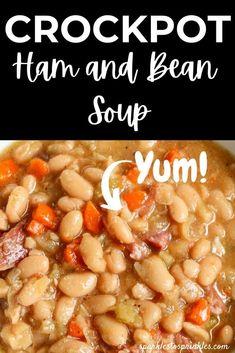 Crockpot Ham And Beans, Crockpot Recipes, Cooking Recipes, Ham Recipes, Ham And Bean Soup, Ham Soup, Toscana Recipe, Fall Soup Recipes