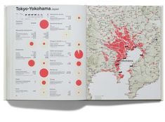 Metropolitan World Atlas p220-221  Joost Grootens. This is my favorite book designer...he ties stats about the region to its geography.