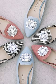 Bejeweled flats in blue, coral, and stripes | Sole Society Libry