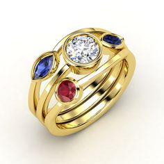 Round Diamond 14K Yellow Gold Ring with Sapphire (I don't know about the whole red/white/blue thing going on, but they're my favorite stones - along with emeralds. What's a girl to do?