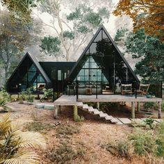 Villa Design, Cabin Design, House Design, Design Design, Render Design, Design Ideas, Cabins In The Woods, House In The Woods, Architecture Cool