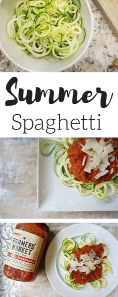 Summer Spaghetti with zoodles + Prego Farmers' Market // A perfect recipe if you're always trying to get your family to eat more vegetables! #ad @walmart
