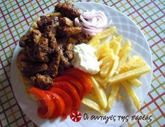 Pork gyros by Akis Breaded Pork Tenderloin, Pita Bread, Greek Recipes, Ketchup, Poultry, Lamb, Potatoes, Tasty