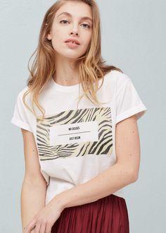 T-shirt algodão estampada - T-shirts de Mulher | MANGO Portugal