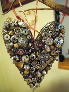 """I used up all my extra and unwanted jewelry """"bits' to make a heart ornament!"""