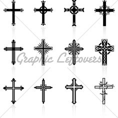 Illustration about Original Vector Illustration: religious cross design collection. Illustration of gothic, digitally, painting - 12098244 Body Art Tattoos, New Tattoos, Cool Tattoos, Tatoos, Mayan Tattoos, Religious Symbols, Religious Cross, Cruces Tattoo, Cross Pictures