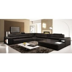 Polaris - Black Leather Sectional Sofa - 1800.0000