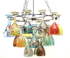 Wrought  Iron Wine Glass Socket Set Chandelier with Assorted Glasses. -21.75 Inches Wide x 33 Inches High