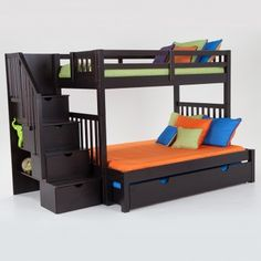kids bunk bed. Keystone Stairway Twin/Full Bunk Bed With Perfection Innerspring Mattresses And Storage/Trundle Unit Kids C