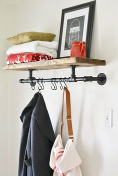 Industrial Coat Rack Here is a quick and easy to tutorial of how to make an industrial pipe coat rack.Here is a quick and easy to tutorial of how to make an industrial pipe coat rack. Home Organization, Room, Industrial Coat Rack, Shelves, Home Projects, Interior, Diy Furniture, Home Decor, Home Diy