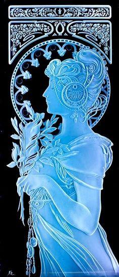 Mucha Lady. Inspired by the great artist Alphonse Mucha glass carved by Fernando Reyes www.reyesglass.com