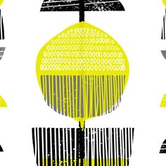 A modern print with an abstract design of natural elements with a midcentury, retro feel.<strong>The design is inspired by midcentury print and pattern and was created using hand carved and pressed linocut blocks. </strong> Printed in bright citrus yellow, grey and black. It co-ordinates well with monochrome colour schemes as well as other bold colours. My prints are all originally created using linocut blocks which are hand pressed using water based inks, mark making techniques and hand…