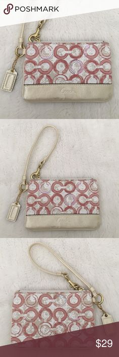 """Coach Canvas Wristlet with Sequences Preowned worn once Authentic Coach Canvas and Leather Wristlet. Wristlet is 6"""" wide and 4"""" tall. Very cute! Please look at pictures for better reference. Happy shopping! Coach Bags Clutches & Wristlets"""