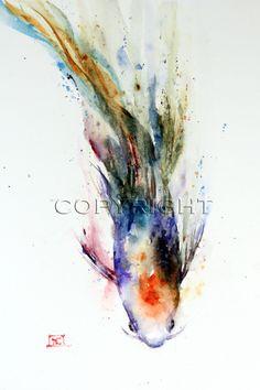 KOI Watercolor Print by Dean Crouser. $25.00, via etsy.com COOL WATERCOLOR TAT