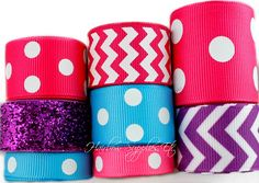 Pink, Purple, and Turquoise 8 yard Grosgrain Ribbon Lot – Hairbow Supplies, Etc.