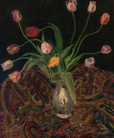Tulips in vase, Lous Sluijters. Dutch (1908 - 1981)