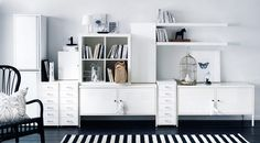 multiple pieces on a single wall.  Workspace storage solution in white with HELMER, IKEA PS cabinets & EXPEDIT bookcase.