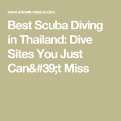 Best Scuba Diving in Thailand: Dive Sites You Just Can't Miss