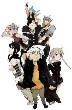 Soul eater, Maka. BlackStar, Tsubaki. Death the kid, Liz, and Patty