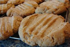 Delicious peanut butter cookies!! (I used a sugared fork for imprint and baked at 350 instead of 375)