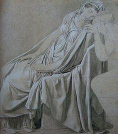 Estudio para Sabina - ElJuramento de los Horacios, es una muestra de cómo se puede realizar una copia exacta de las vestiduras antiguas y con una iconografía sencilla.