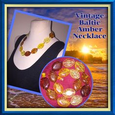 """VTG Polished Mixed Baltic Amber Beaded Necklace! Vintage Polished Mixed Baltic Amber Necklace! Made of fine natural honey, cognac, lemon & butter colored Amber beads in a beautiful large, flat oval beaded design w/ twist closure. 21 1/2"""" end to end, each bead measures approx. 32mmx23mmx8mm thick. Hangs 9 1/2"""" around neck & is made of natural baltic Amber hand polished beads, not of bakelite, resin or any form of plastic. Can see pieces of leaves, dirt, residue etc inside beads with each one…"""