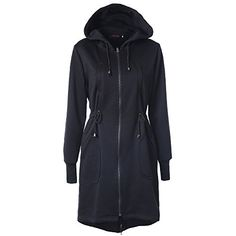 Doreen Women's Long Sleeve Zip Up Long Sweatshirt Tunic Hooded Hoodies Jacket Coat Black Size XXL. Material:Fleece cloth 50% cotton / 50% polyester,Soft and Warm Material, a slimmer and closer fit Hoody. Brand New Finest Fashionable Long Sleeve Hooded Zip Up Sweatshirt, Front pockets for convenience / zipper and drawstring / Ribbed band on sleeves. Quality sweatshirts, forms and colors combined with fine fabrics in highest workmanship, Features a customized body shape. Garment Care…