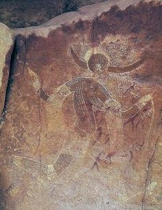 Running Horned Woman, 6,000-4,000 B.C.E., pigment on rock, Tassili n'Ajjer…
