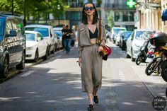 Haute Couture Fall / Winter 2017/18 Street Style: Striped look