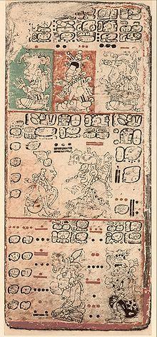 """O Códice de Dresden é um antigo livro maia do século XI ou XII dos maias iucatãs. É um trabalho de arte muito importante. Muitas seções são ritualísticas (incluindo os chamados """"almanaques""""), outras são de natureza astrológica (eclipses, o ciclo de Vênus). Provavelmente foi escrito pouco antes da conquista espanhola"""