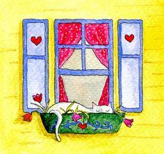 Cat Watercolor, cat in windowbox, sneaky cat. $30,00, via Etsy.