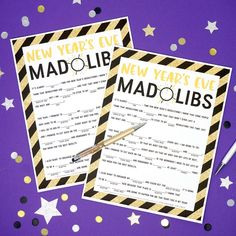 This fun FREE New Year's Eve Mad Libs printable is perfect for kids of all ages (and grown-ups, too! Great for teachers, holiday parties, and more! New Year Printables, Party Printables, Free Printables, Family New Years Eve, New Year's Eve Activities, Eve Game, New Year's Eve 2020, Fun Party Games, Party Ideas