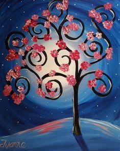 Tree Of Life Art, Cherry Blossom Tree, Greeting Cards, Wall Art, Painting, Painting Art, Paintings, Painted Canvas, Drawings