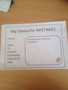 Neat acronym for Mistakes! Growth Mindset