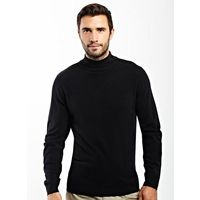 Black Supersoft Turtle Neck Jumper - This brand new neck shape for the season is both outstanding value and comfortable to wear.