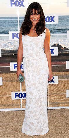 Lea Michele in Marchesa. Fancy beach chic