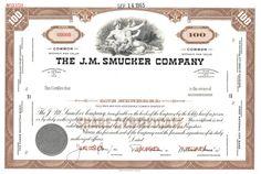 J. M. Smucker Company stock certificate, 1965