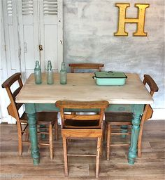 Vintage / antique / rustic / shabby chic / rough luxe / kitchen / dining table / desk. Scrub top farmhouse style table... lovely green colour... perfect with these chapel chairs.... I love it....