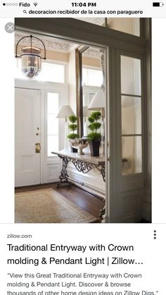 Home Shabby Home Hallway Inspirations. Lovely entrance hall with dark hardwood floors and intricate woodwork. Foyer Decorating, Interior Decorating, Interior Design, Decorating Ideas, Decorating With Lanterns, Decor Ideas, French Interior, Interior Ideas, Design Entrée